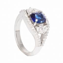 anello unico con zaffiro blu